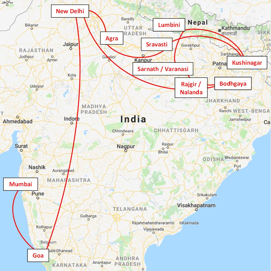 Kaart-Boeddhistische-pelgrimsplaatsen-in-India-en-Nepal-met-Maarten-Olthof